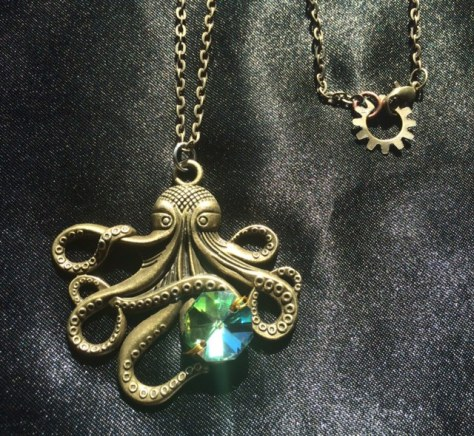 Steampunk pirate octopus necklace